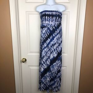 Bobeau Blue Tye Die Strapless Dress Cover Up Small